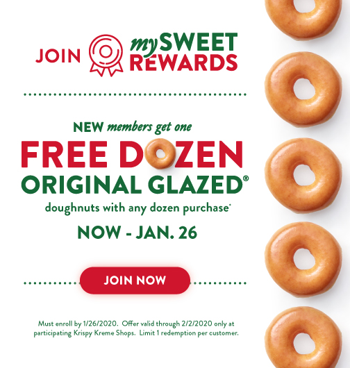 New Rewards members get a free dozen original glazed with a dozen purchase
