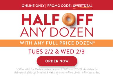 Half Off Any Dozen at Krispy Kreme! Valid 2/2 & 2/3.