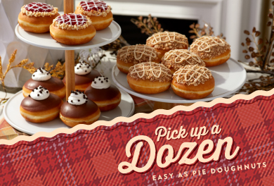 Pick up a dozen of our easy as pie doughnuts.