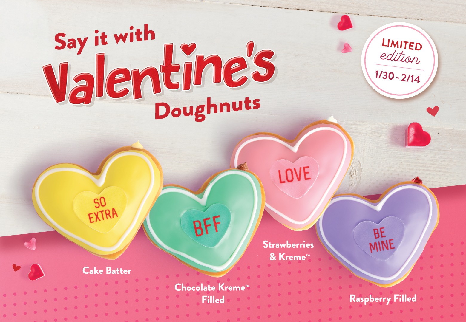 5440ec12739f Say it with Valentines s conversation doughnuts  the yellow doughnut with  red text says,