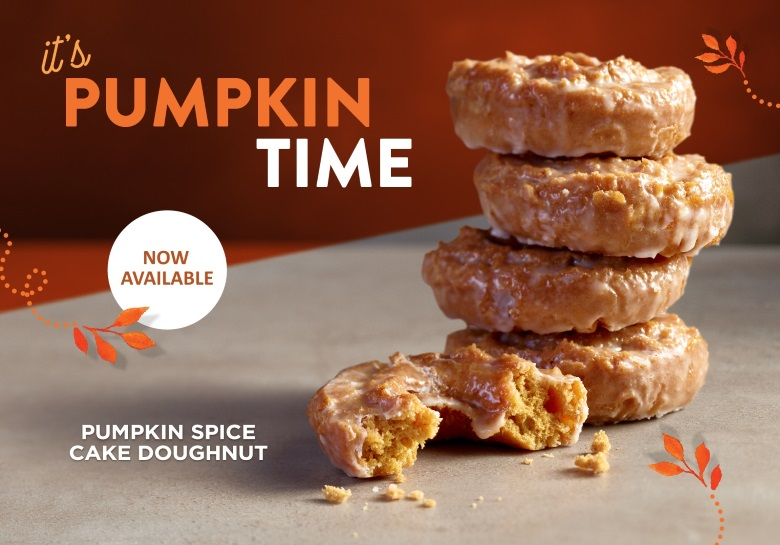 pumpkin spice cake doughnut now available - Krispy Kreme Christmas Hours