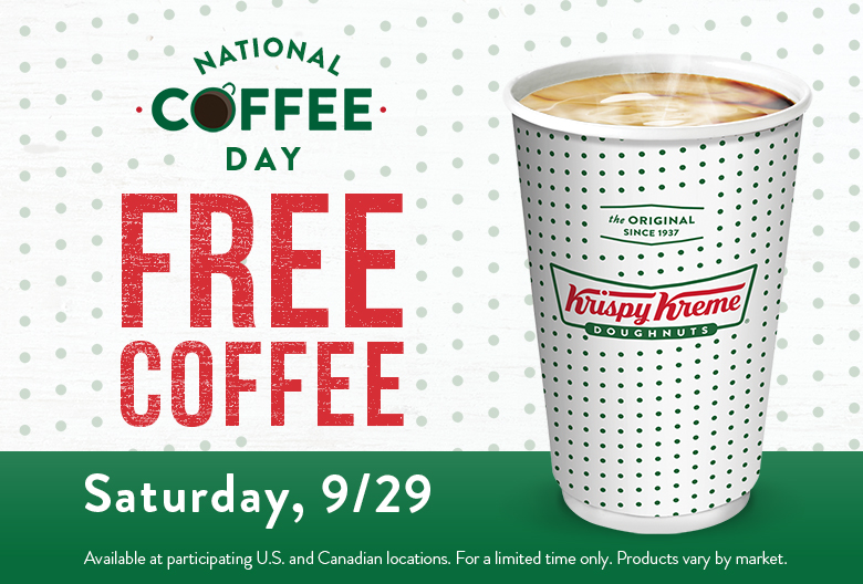 Free coffee on National Doughnut Day, Saturday September 29