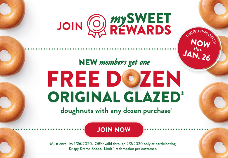 New Rewards members get a free dozen original glazed with a dozen purchase.